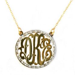 Cut-Out Gold Monogram Necklace with CZ Border