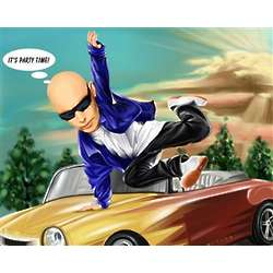 License to Drive Caricature from Photo Art Print