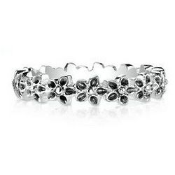 Sterling Silver Flower Stack Ring
