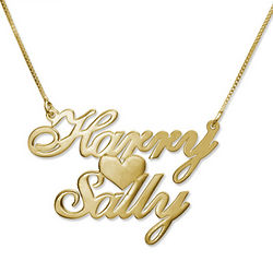 18K Gold Plated Two Names and Heart Pendant