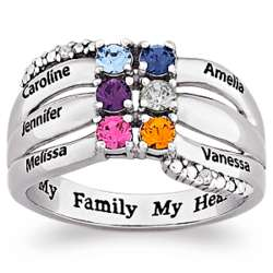Family Birthstone and Name Ring with Diamonds