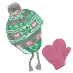 Toddler Girls Peruvian Hat and Gloves with Hearts