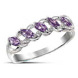 Sterling Silver Eternity Ring with Amethysts and Diamonds
