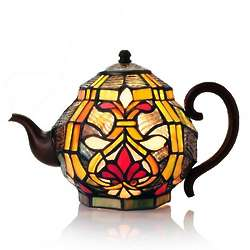Handcrafted Stained Glass Teapot Lamp
