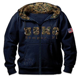 Semper Fi Men's Hoodie with USMC Digital Camo