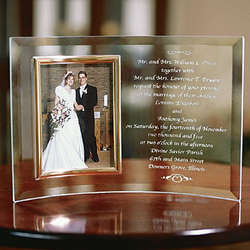 Personalized Beveled Glass Wedding Invitation Frame