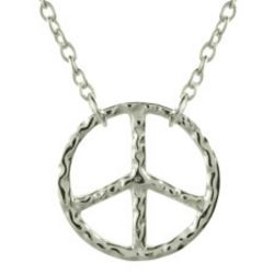 Petite Hammered Sterling Silver Peace Sign Necklace