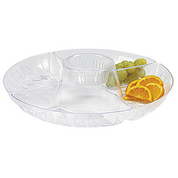Diamond Cut Four-Compartment Deep Serving Tray