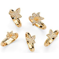 14k Gold Plated Crystal Butterfly and Flower Ring Set