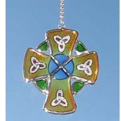 Mini High Cross Painted Glass Window Hanger