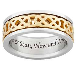 Personalized Men's Titanium Two-Tone Celtic Knot Spinner Band