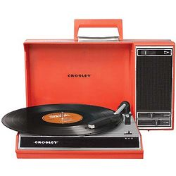 Red Spinnerette Portable Turntable and Converter