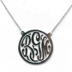 Cut-Out Sterling Silver Monogram Necklace with Border