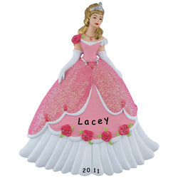 Personalized Princess with Glittered Dress and Crown Ornament