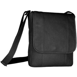 Men's Black Leather Vertical Bag
