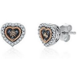 Sparkling Champagne and White Diamond Heart Earrings