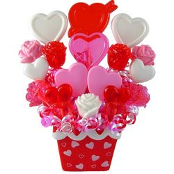 Candy Hearts and Roses Lollipop Bouquet