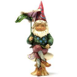 Gnome on Mushroom Figurine