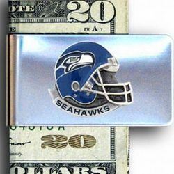 Seattle Seahawks Sculpted and Enameled Pewter Money Clip