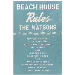 Beach House Rules Personalized Wood Sign