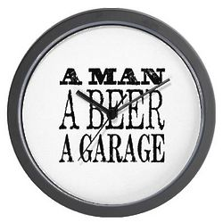 A Man, a Beer and a Garage Wall Clock
