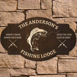 Fishing Lodge Personalized Wood Sign