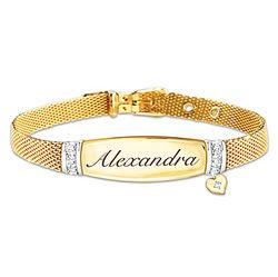 Daughter's Personalized 7-Diamond Buckle Bracelet