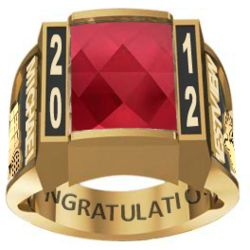 Men's Gold Plated Traditional Deco Birthstone Class Ring
