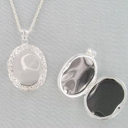 Engraved Crystal and Silvertone Oval Locket Necklace