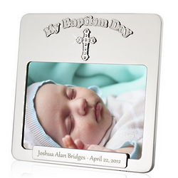 Personalized Baptism Picture Frame with Rhinestone Cross