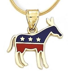 Democrat Donkey Pendant in 14k Yellow Gold