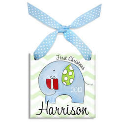 Personalized Boy's First Christmas Elephant Ornament