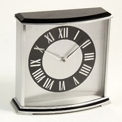 Palm Springs Stainless Steel and Wood Desk Clock