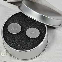 Engraved Silver Oval Cufflinks