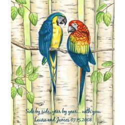 Personalized Affectionate Parrots Art Print