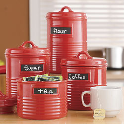 Set of 4 Ribbed Kitchen Canisters