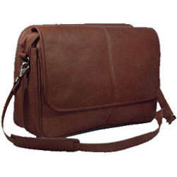 Cafe Leather Expandable Messenger Bag