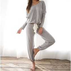 Heather Slouchy Longsleeve T-Shirt and Cropped Pants Loungewear