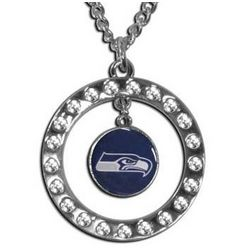 Seattle Seahawks Rhinestone Hoop Necklace