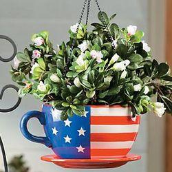 Patriotic Mug Hanging Planter