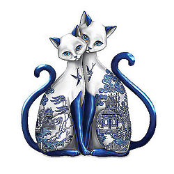 Blue Willow Pattern Cat Figurine