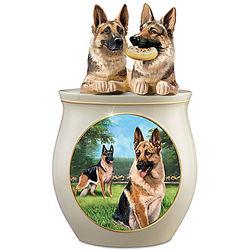 German Shepherd Art Ceramic Cookie Jar
