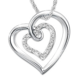 Daughter's Personalized Sterling Silver Diamond Heart Pendant