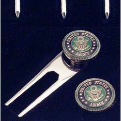 Engraved US Army Golf Tee & Ball Marker Set