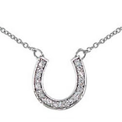 Tiffany Style CZ Sterling Silver Horseshoe Necklace