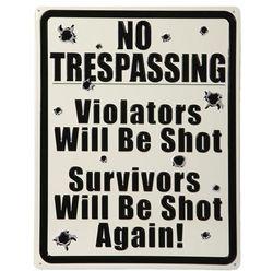 No Trespassing Tin Sign