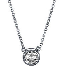 Sterling Silver Round Cubic Zirconia Solitaire Pendant