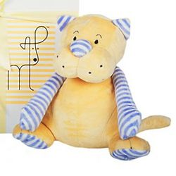 Blue Striped Yellow Cat Plush