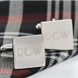 Engraved Silver Square Cufflinks