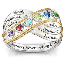 Mother's Never-Ending Love Name Engraved Birthstone Ring